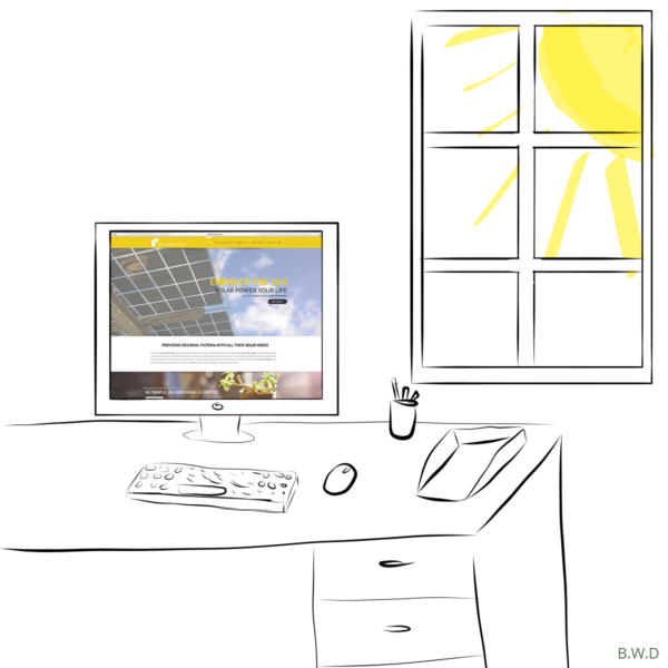 Get a Solar Quote website displayed on an illustrated desk with the sun shining through the window